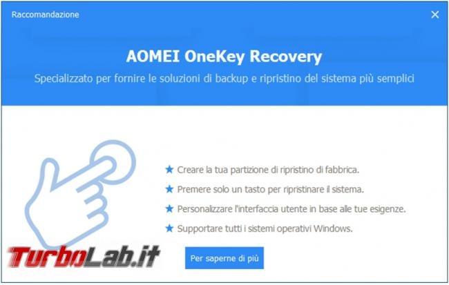 Crea copia sicurezza dati importanti sistema operativo Aomei Backupper
