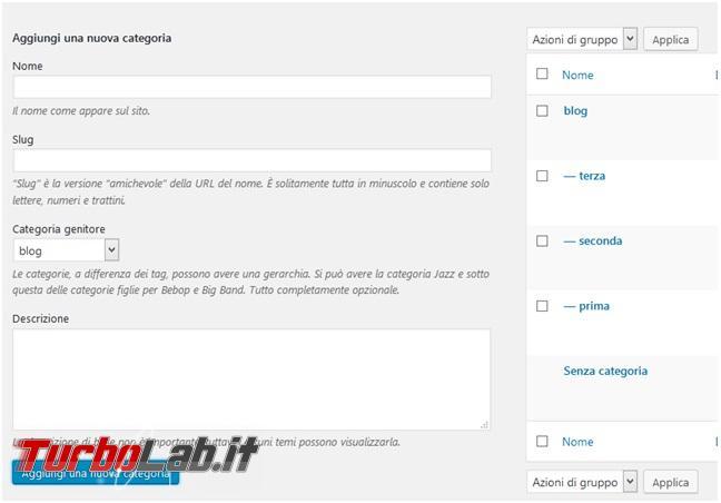 Crea presenza online: Come creare sito gratis - aggiunta categorie