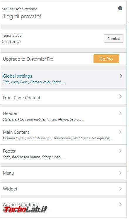 Crea presenza online: Come creare sito gratis - settaggi customizr