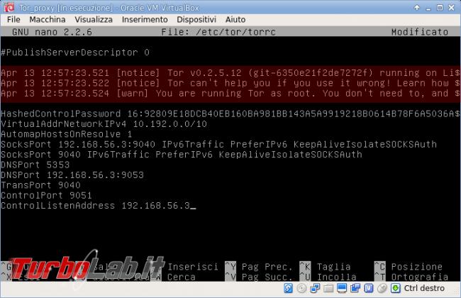 Creiamo proxy Tor macchina virtuale