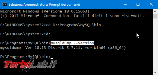Database MySQL backup: esempi guida rapida completa mysqldump Windows Linux Ubuntu/CentOS