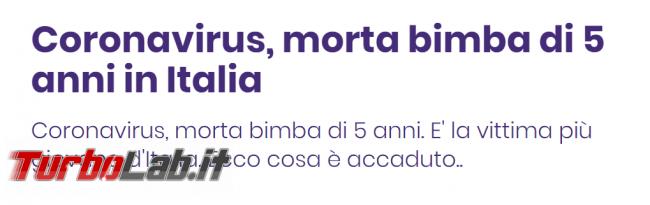 "Diffidate titolo acchiappaclick ""Coronavirus, morta bimba 5 anni"" - FrShot_1585903238"