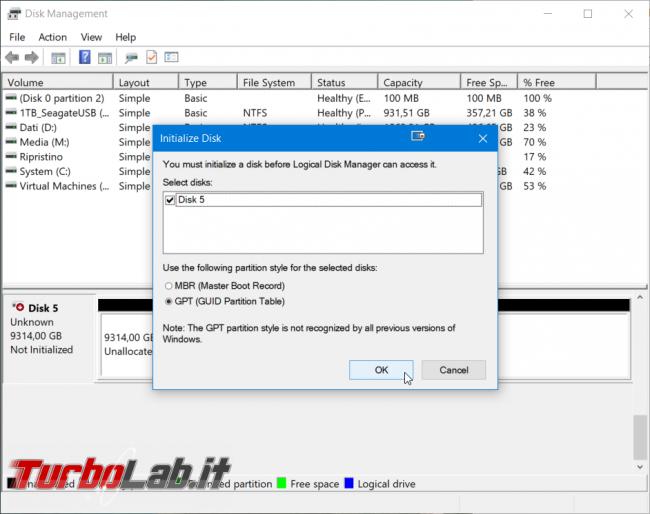 Disco non inizializzato: come inizializzare disco fisso / SSD Windows (MBR/GPT) - windows gestione dischi inizializzazione gpt mbr