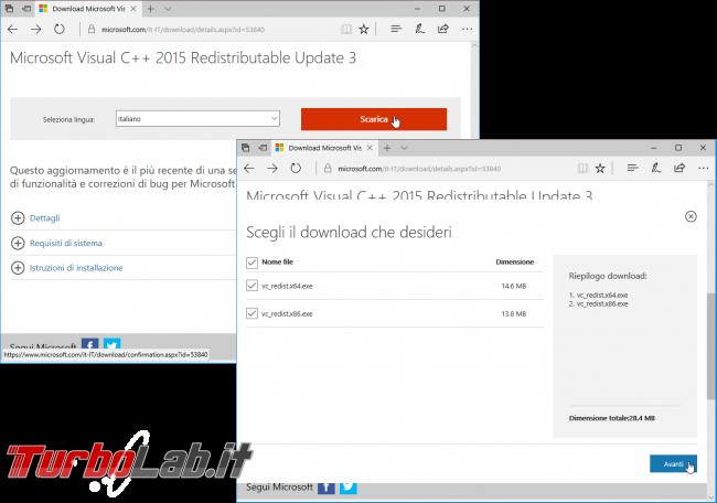 Download Microsoft Visual C++: quale versione devo installare? Dove scaricare ultima versione italiano Windows 10, Windows 8.1 Windows 7? - visual cpp runtime download