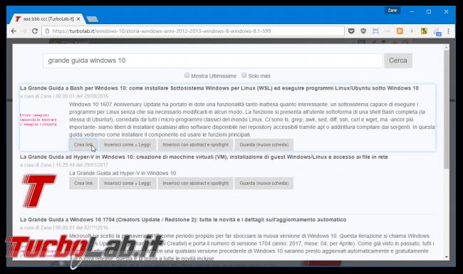 editor TurboLab.it ha ora funzione linking rapido articoli interni