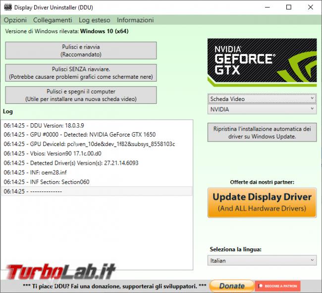 Elimina completamente vecchi driver video Display Driver Uninstaller