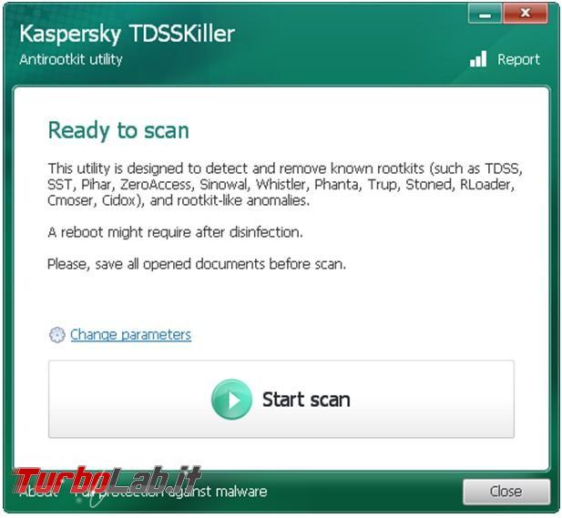 Elimina rootkit più pericolosi TDSSKiller