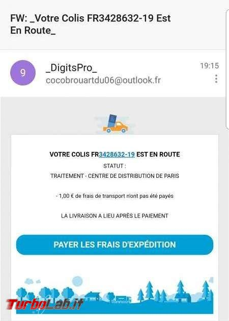 Email truffa DigitsPro: è arrivo pacco te! Paga solo 1 € consegna - digitspro_fraud_email