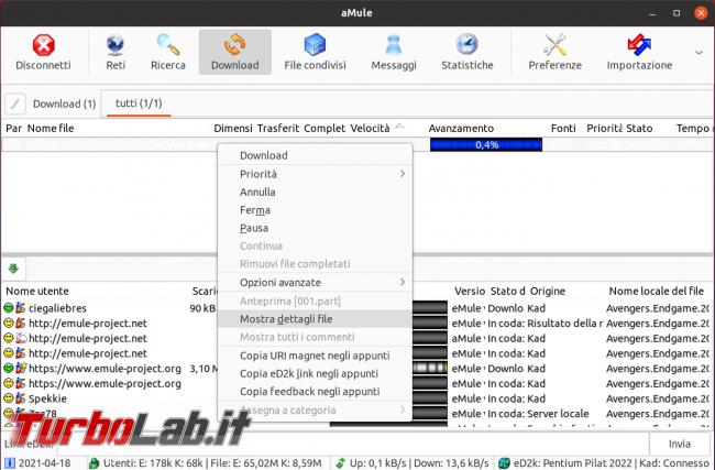 eMule Linux (Ubuntu): download, configurazione guida completa aMule (video) - Schermata del 2021-04-18 13-29-32