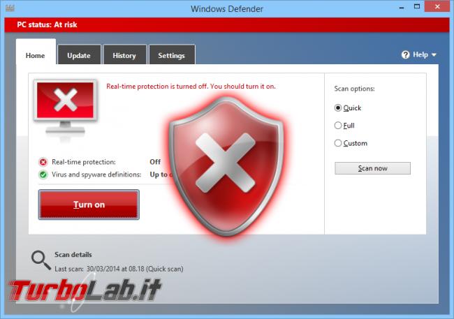 Errore disinstallazione Kaspersky: come rimuovere Kaspersky kavremover ( modalità provvisoria) - windows_defender_alert_artwork