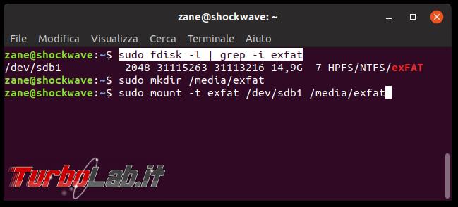 Errore unknown filesystem type 'exFAT' Ubuntu: come leggere/scrivere scheda SD/microSD macchina fotografica chiavette USB exFAT Linux - terminale mount exfat