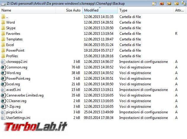 Esegui backup impostazioni configurazione molti programmi CloneApp