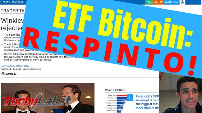 ETF Bitcoin RESPINTO! Prezzi picchiata (video)