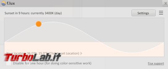 f.lux regola automaticamente luminosità schermo calare sole
