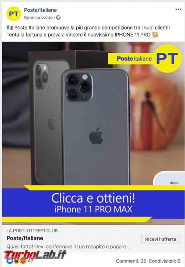 Facebook: Clicca ottieni! iPhone 11 PRO MAX. Non è Poste Italiane, truffa - 81408633_1395615977266746_7284467917897334784_n