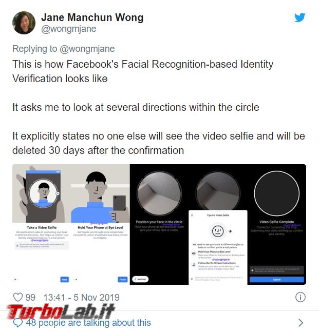 Facebook testa video selfie combattere profili falsi. esclude si tratti riconoscimento facciale - FrShot_1573049829