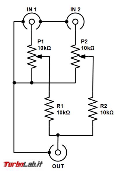 Fai te: mixer passivo due canali stereo - schema elettrico - mono