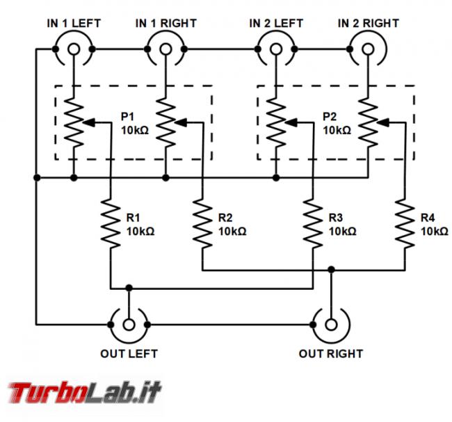 Fai te: mixer passivo due canali stereo - schema elettrico - stereo