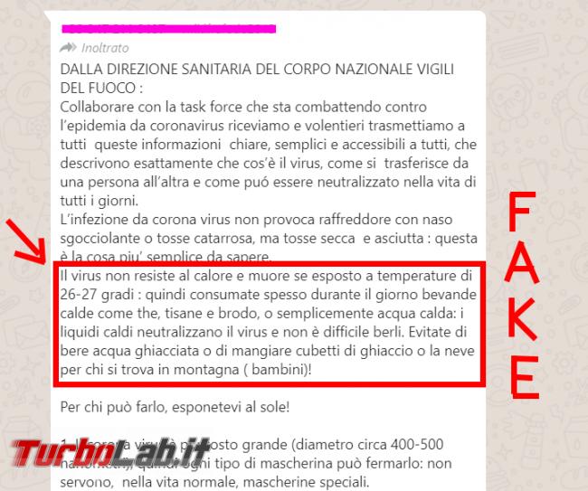 Falso messaggio WhatsApp Direzione Sanitaria Vigili Fuoco Coronavirus: bere bevande calde non serve! - FrShot_1583746913