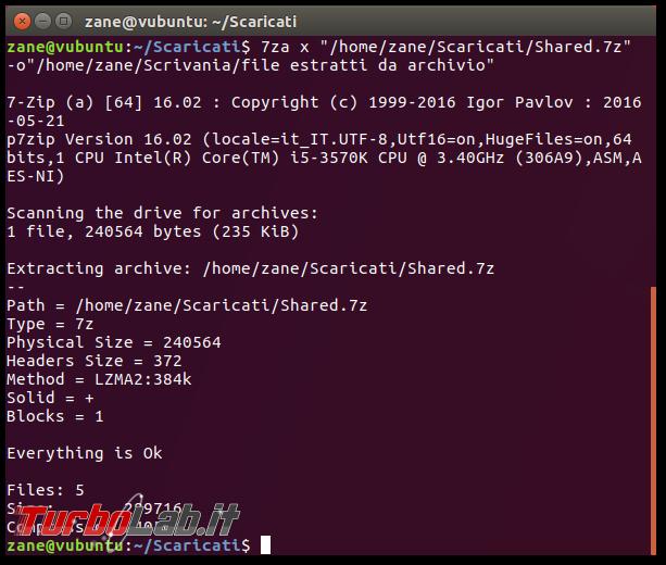 File .7z, Linux linea comando: come creare/comprimere ed estrarre archivi 7z 7-Zip Ubuntu CentOS - Schermata del 2017-09-17 21-44-01