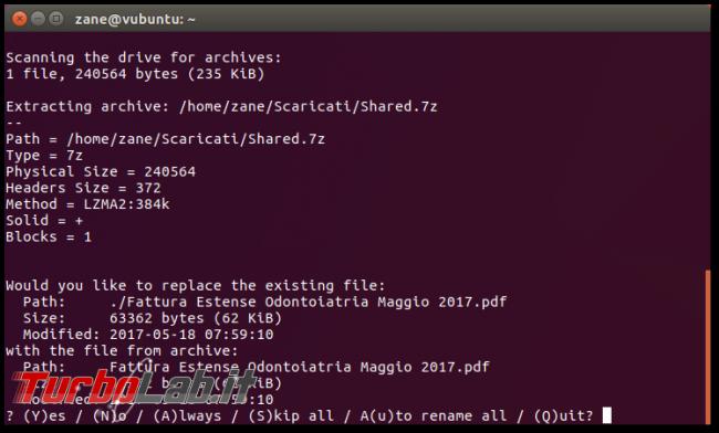File .7z, Linux linea comando: come creare/comprimere ed estrarre archivi 7z 7-Zip Ubuntu CentOS - Schermata del 2017-09-17 21-47-57