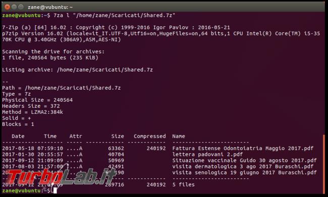File .7z, Linux linea comando: come creare/comprimere ed estrarre archivi 7z 7-Zip Ubuntu CentOS - Schermata del 2017-09-17 21-55-29