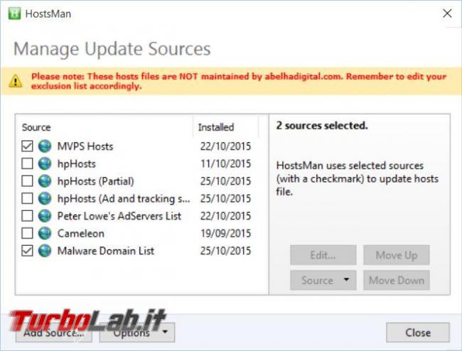 File hosts: HostsMan scarichi aggiorni automaticamente migliori liste blocco (stop domini malware server pubblicitari)
