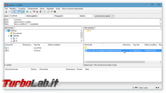 FileZilla Server: abilitare accesso anonimo - FileZilla anonymous