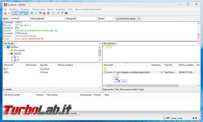FileZilla Server: abilitare accesso anonimo - FileZilla errore upload