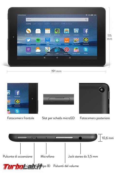 """Fire 7"""" (2015): esperienza d'uso prova completa tablet 60 € Amazon - amazon fire 7 2015 specifiche tecniche"""