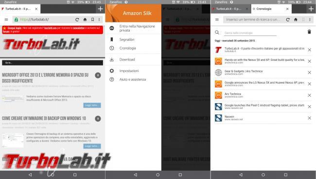 "Fire 7"" (2015): esperienza d'uso prova completa tablet 60 € Amazon - Fire OS 5 browser silk"