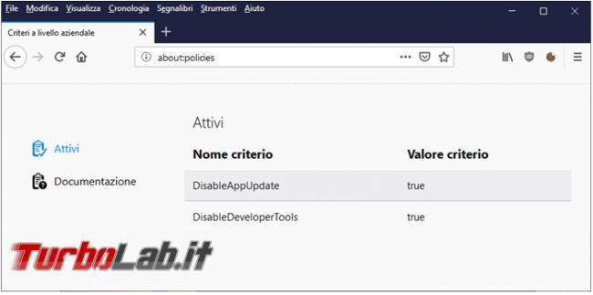 """Firefox messaggio """" possibilità modificare alcune opzioni è stata disattivata propria azienda"""". Cosa vuole dire perché compare?"""