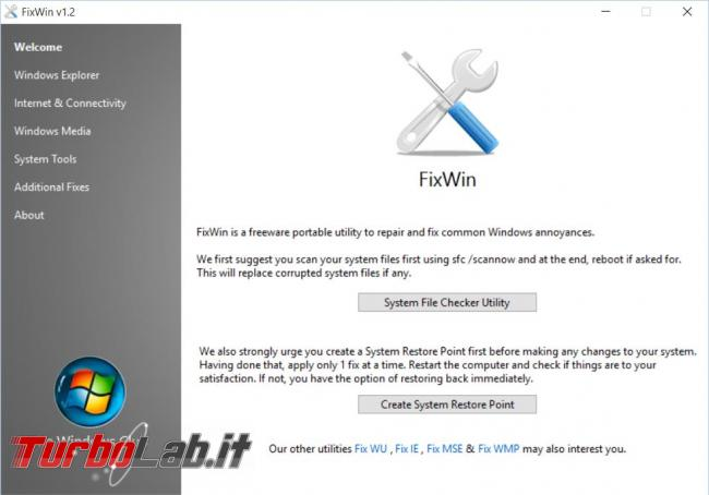 FixWin ripara molti problemi Windows click