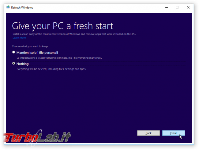 "Formattare reinstallare Windows 10 automaticamente, senza DVD ""crapware"": guida Refresh Windows Tool - refresh windows tool 1"