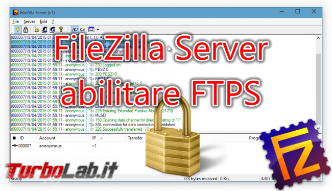FTPS FileZilla Server: come accettare connessioni FTP sicure - filezilla server tls ssl spotlight