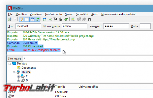 FTPS FileZilla Server: come accettare connessioni FTP sicure - FileZilla SSL required