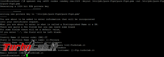 FTPS Pure-FTPd: come accettare connessioni FTP sicure - openssl req  x509 genera certificato