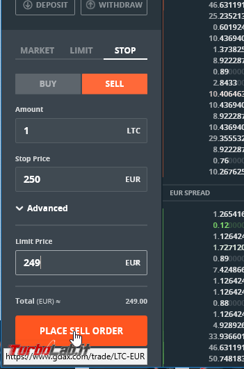 GDAX guida video italiano - come comprare criptovalute fare trading (GDAX: ordini limite stop loss)