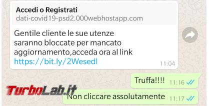Gentile cliente utenze saranno bloccate mancato aggiornamento: messaggio truffa conduce falso sito Poste Italiane - FrShot_1588238462