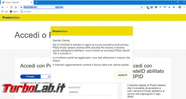 Gentile cliente utenze saranno bloccate mancato aggiornamento: messaggio truffa conduce falso sito Poste Italiane - FrShot_1588277018