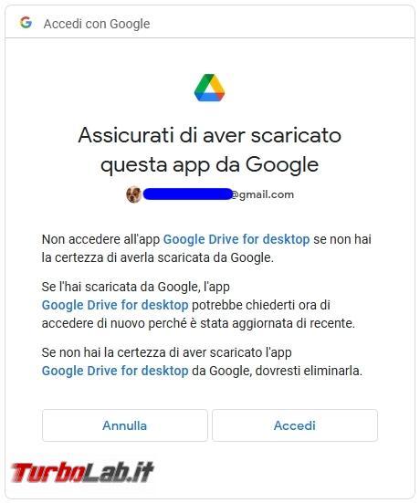 Google Backup and Sync Google Drive for desktop: mini-guida veloce transizione necessaria, indolore - Google Drive_004_ITA_[da dentro la finestra del browser]