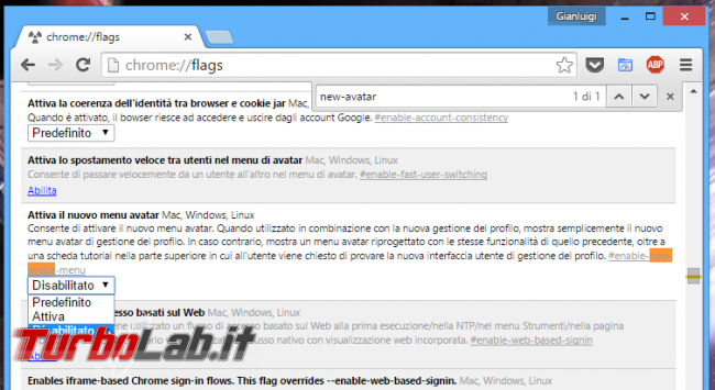 Google Chrome: rimuovere nome-utente barra titolo - chrome flags new avatar