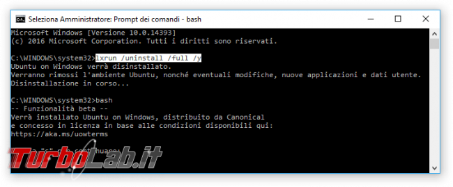 Grande Guida Bash Windows 10: come installare Sottosistema Windows Linux (WSL) ed eseguire programmi Linux/Ubuntu sotto Windows 10 - bash windows 10 disinstalla