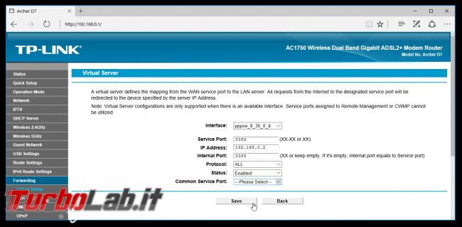Grande Guida BitTorrent - router tp-link port forward add