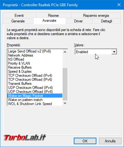 Grande Guida Wake-on-LAN (WoL): come accendere PC Windows / Linux Ubuntu lontano usando smartphone Android connessione Internet - proprietà scheda di rete attiva wol