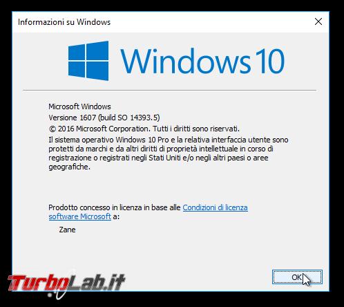 """Grande Guida Windows 10 """"Anniversary Update"""" (versione 1607, """"Redstone""""): tutto quello devi sapere - windows 10 1607 anniversary update winver"""