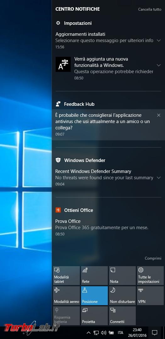 """Grande Guida Windows 10 """"Anniversary Update"""" (versione 1607, """"Redstone""""): tutto quello devi sapere - windows 10 1607 centro notifiche"""