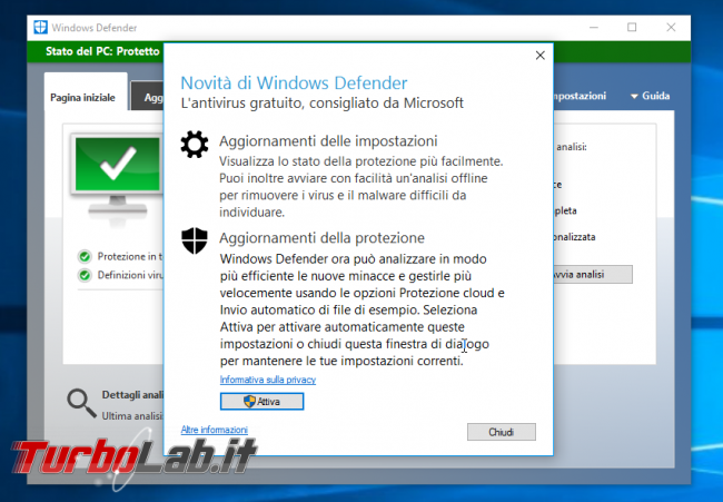 "Grande Guida Windows 10 ""Anniversary Update"" (versione 1607, ""Redstone""): tutto quello devi sapere - windows 10 1607 windows defender"