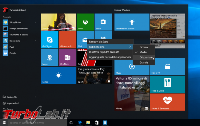 Grande Guida Windows 10 - windows 10 start menu tile resize