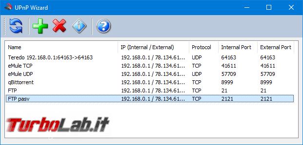 Guida: alternativa interfaccia web aprire porte router/modem si chiama UPnP Wizard UPnP PortMapper - upnp wizard porte configurate